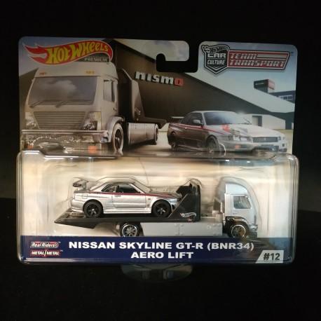 Hot Wheels 1:64 Nissan Skyline GT-R (BNR34) + Aero Lift (Team Transporter 12)