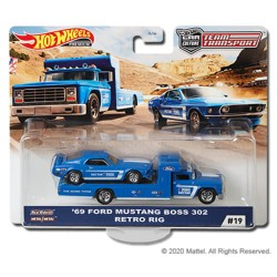 Hot Wheels 1:64 '69 Ford Mustang Boss 302 + Retro Rig (Team Transport 19)