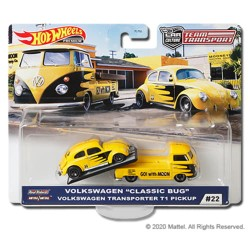 "Hot Wheels 1:64 Volkswagen ""Classic Bug"" + Volkswagen Transporter T1 Pickup (Team Transport 22)"